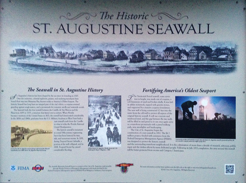 Sign depicting the History of the St. Augustine Seawall