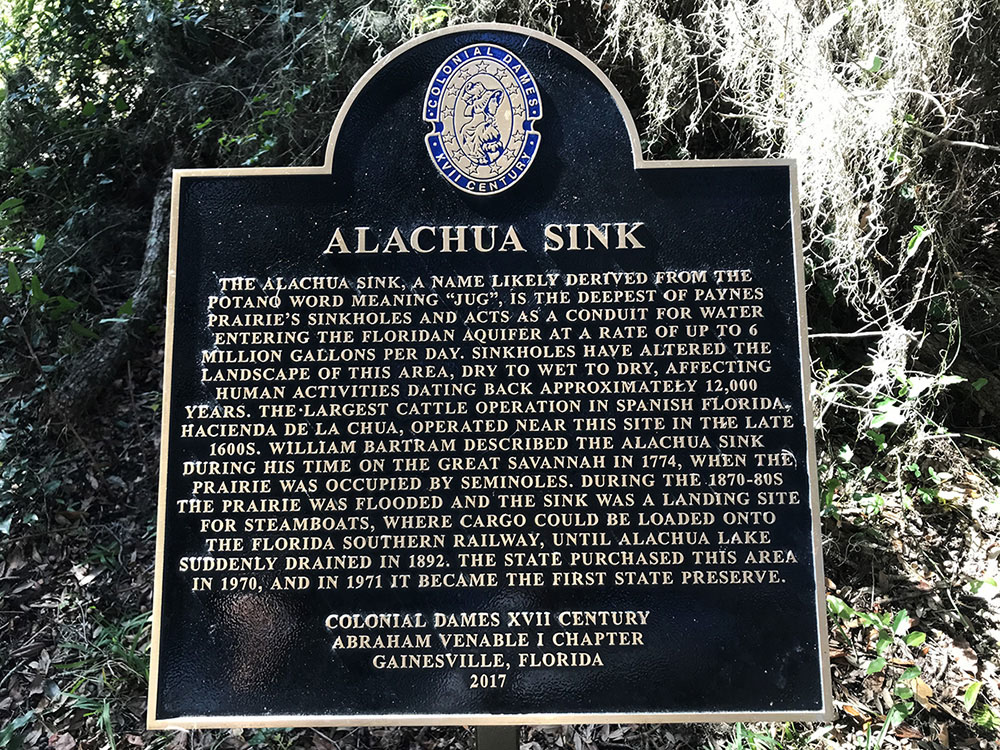Sign explaining the history of Alachua Sink.