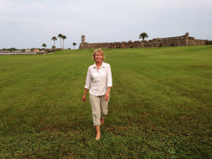 """Alias """"grasshopper"""" walking the grounds of the old fort in St. Augustine, Florida."""