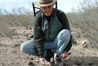 Weasel digs for Fire Agate in the Black Hills of Arizona - 2001.